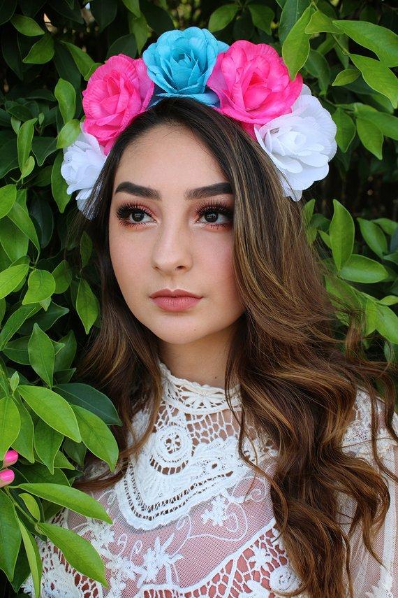 Pink Turquoise Flower Crown Headband (Winter Wedding Bridal Headpiece Bride Party Music Festival Boho Gypsy Bridesmaids Adult Wreath Party) #crownheadband