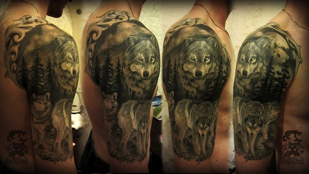 f0b884b00 Wolves' tattoo from 4 different angles Wolves Fighting, Body Art, Wolf  Makeup,