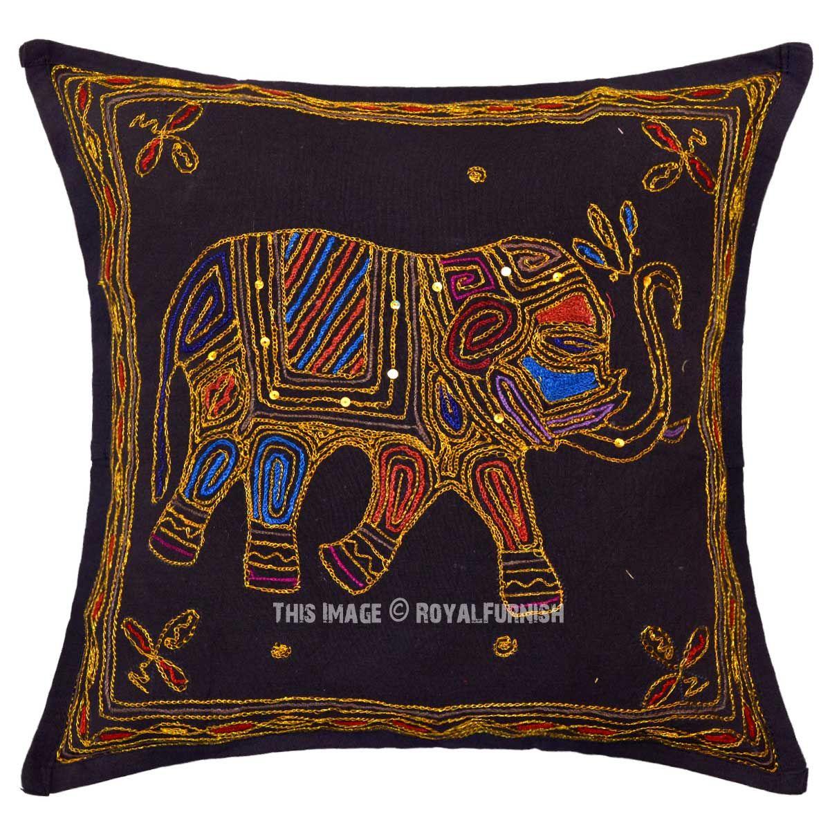 Buy needlepoint elephant designed indian ari embroidery style throw