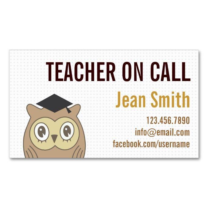 Cute owl teacher on call business card make your own business card cute owl teacher on call business card make your own business card with this great reheart Choice Image