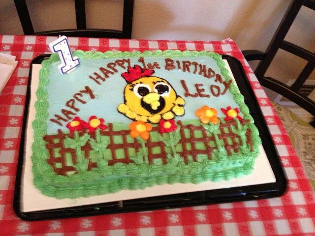 Leos First Birthday Cake The Chica Show Is His Favorite Happy