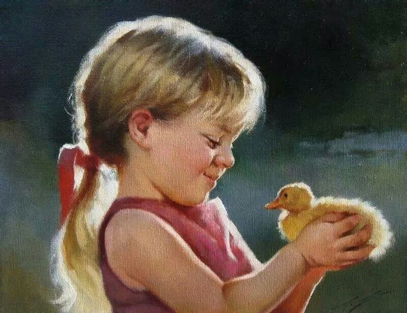 Girl n ducky painting