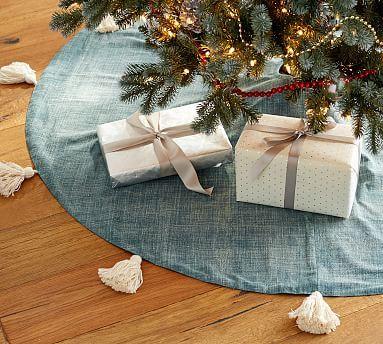 The Emily  Meritt The Denim Tassel Tree Skirt, Denim/White Tassel