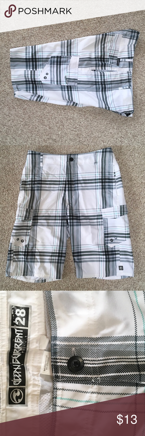 Ocean Current Swim Trunks Mens Size 28 Zip And Button Front With Draw String Velcro Back Side Pockets Shorts Athletic