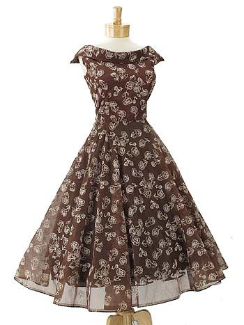 50s Chocolate Brown Rose Flocked Organza Tea Length Party Dress