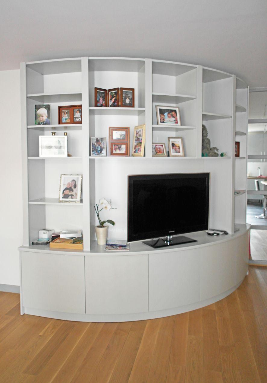 biblioth que arrondie pour salon design une petite. Black Bedroom Furniture Sets. Home Design Ideas