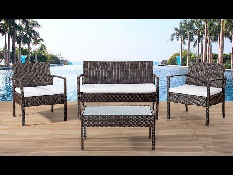 Beliani Wicker Garden Furniture Set - 4 Persons Settee - Outdoor ...