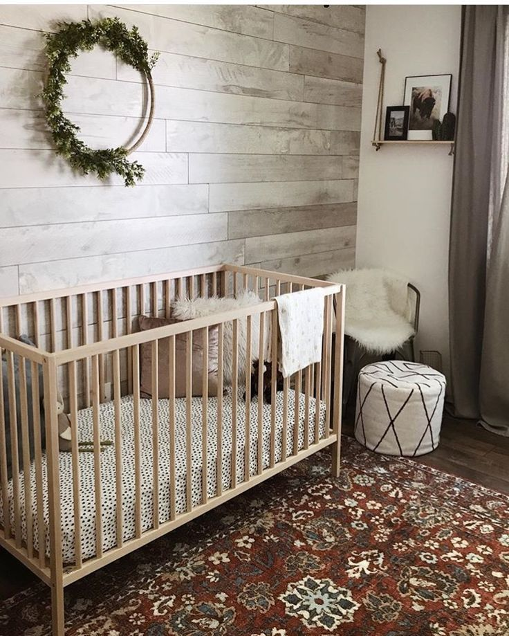 51 Gorgeous Gender Neutral Baby Nursery Ideas: Boho Gender Neutral Nursery With Shiplap Wall