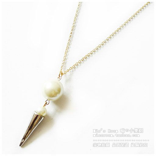 Free Shipping Gold pearl Eddie Borgo cone pendant long necklace fashion accessories female brief 27 New Styles US $5.50