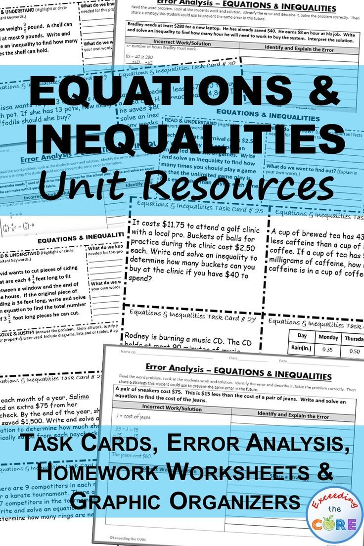 EQUATIONS & INEQUALITIES Unit Resource BUNDLE  This BUNDLE includes 40 task cards, 10 error analysis activities, 10 problem solving graphic organizers and 6 homework practice worksheets. Perfect for math assessment, homework, math stations. Topics include: ✔ addition and subtraction equations ✔ multiplication and division equations ✔ two-step equations ✔ addition and subtraction inequalities ✔ multiplication and division inequalities ✔ two-step inequalities 7th Grade Math Common Core 7EE3…