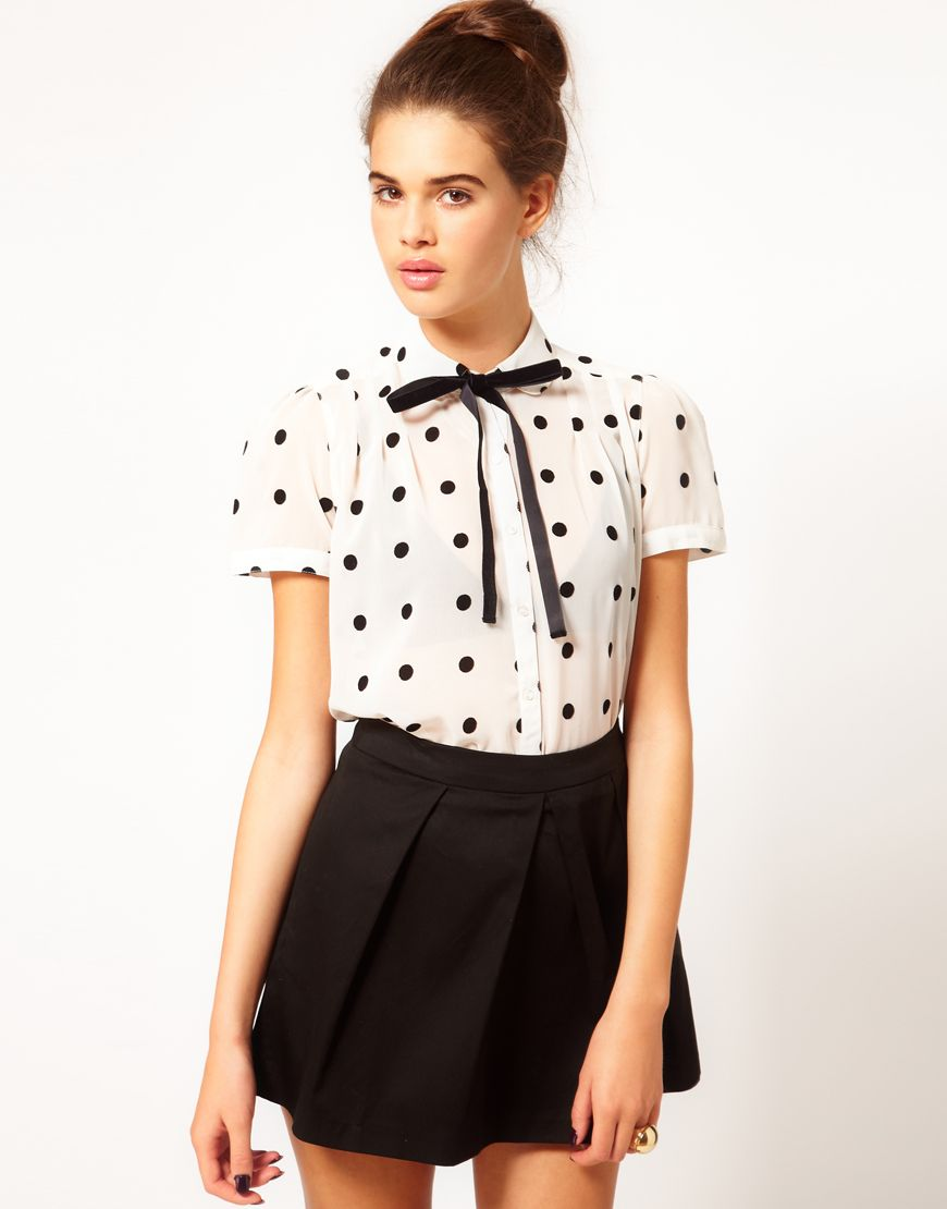 248b082cd8 polka dot short sleeve blouse with bow tie.  43