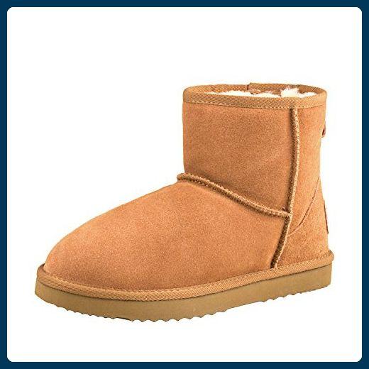 7e409ba53fea ShenDuo Damen Wasserdicht Winterstiefel Kurz Schlupfstiefel Leder Boots  D5154 Chestnut 40 - Stiefel für frauen (