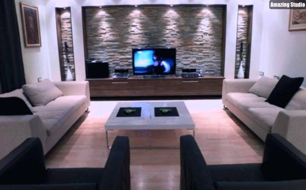 Natursteinwand Im Wohnzimmer Beleuchtung Idee