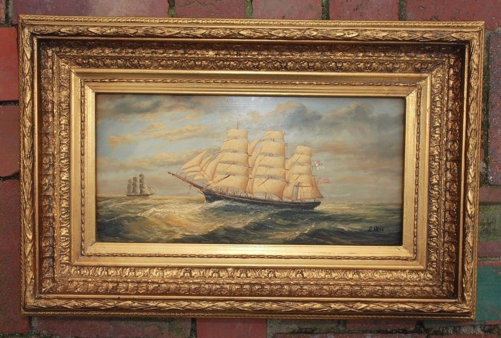 1940s Oil on Wood Painting of Tall Ship on Ocean signed ...