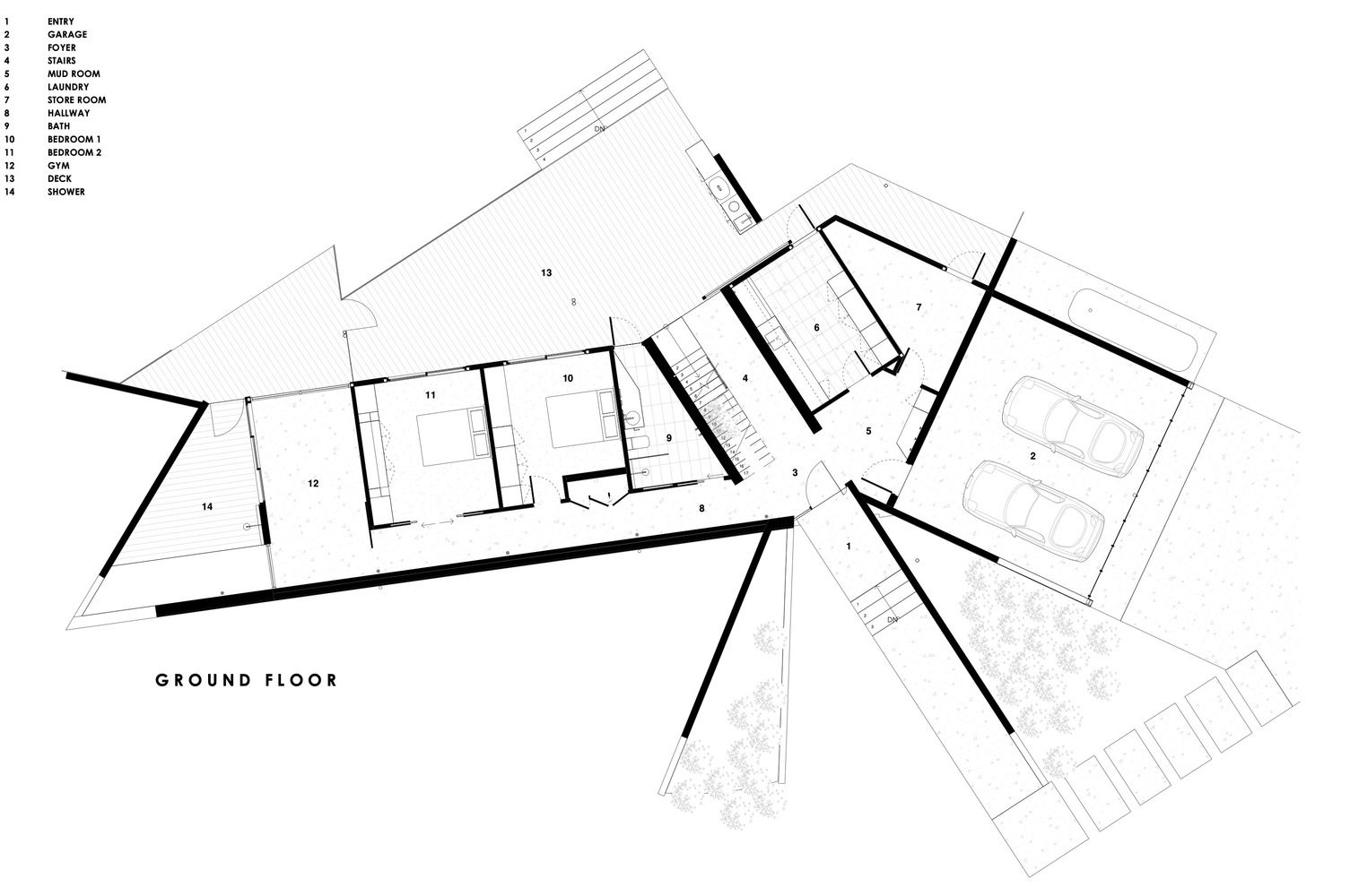 Gallery Of Three Angle House Megowan Architectural 53 Ground Floor Plan Architecture House