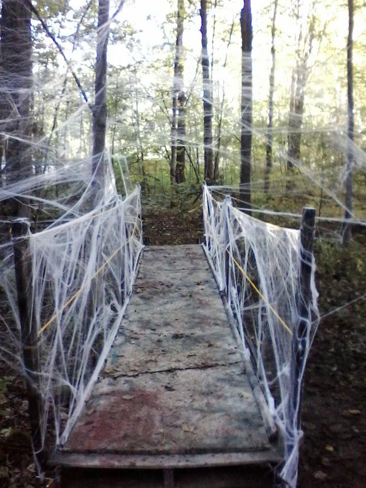 bridge for halloween yard haunt spider webs all around it. Black Bedroom Furniture Sets. Home Design Ideas