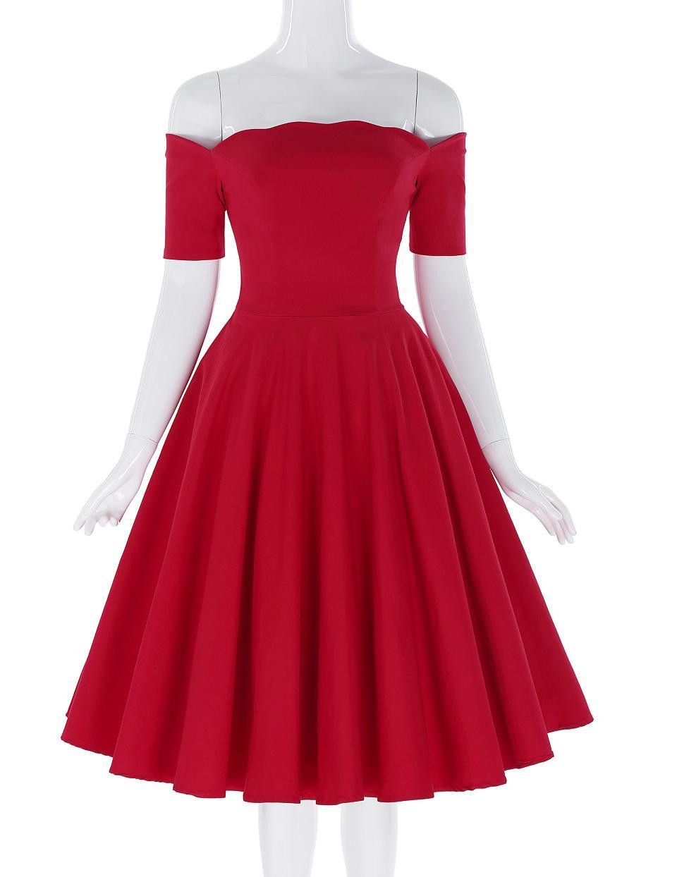 Vintage Off Shoulder Retro Rockabilly Swing Party Dresses 1950s 60s ... b5e82d51b727