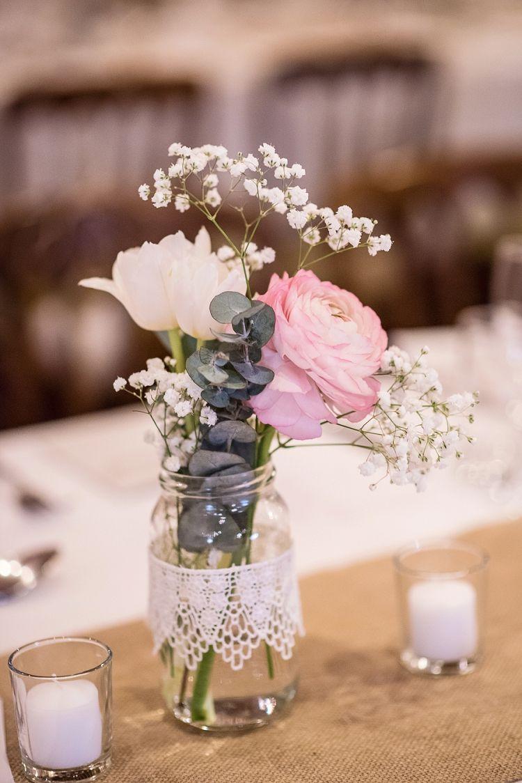 wedding centerpieces fake flowers%0A Lace Jar Flowers Hessian Burlap Decor Centrepiece Stylish Floral Barn  Wedding http   www