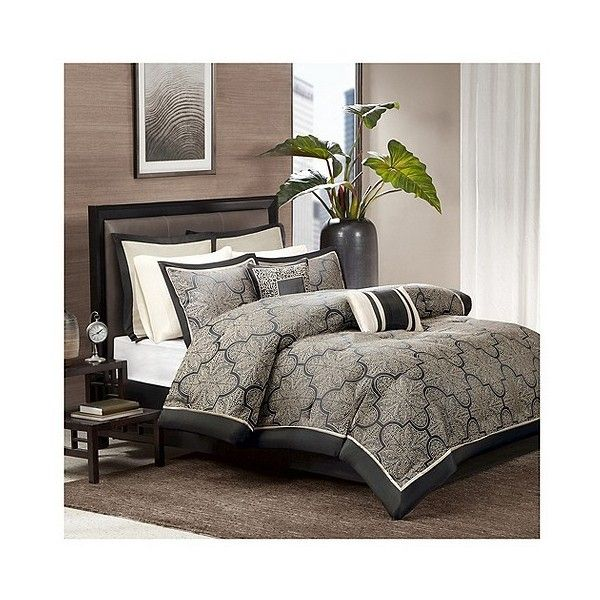 Ryland Jacquard Comforter Set ($150) ❤ liked on Polyvore featuring home, bed & bath, bedding, comforters, black, jacquard comforter set, black bedding, black comforter set, black comforter and jacquard comforter