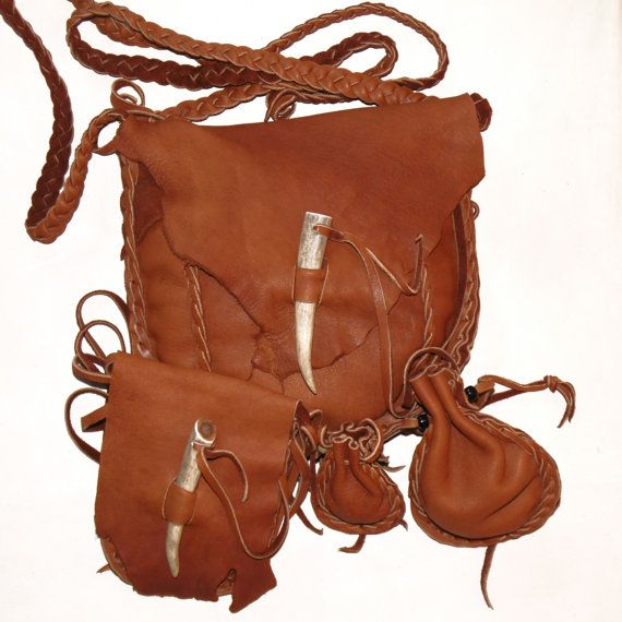 Leather Possibles Bag Set 4 Pc Mountain Man Ball Medicine Pocket Pouch