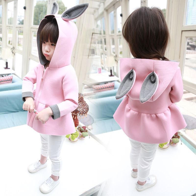 d796aa46e Click to Buy    Cute Rabbit Ear Hooded Girls Coat New Spring Top ...