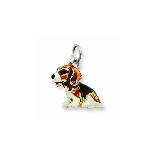 Sterling Silver Enameled Small Beagle Charm Best Quality Free