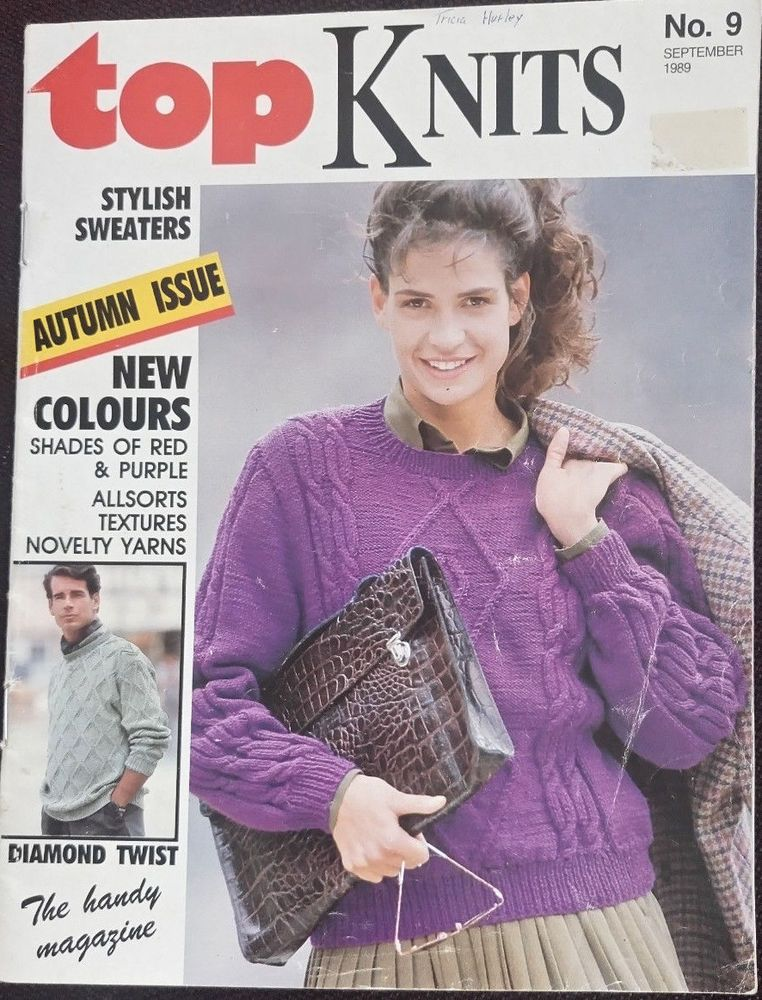 Top Knits Knitting Magazine Sept 1989 Sweaters Cardigans Womens