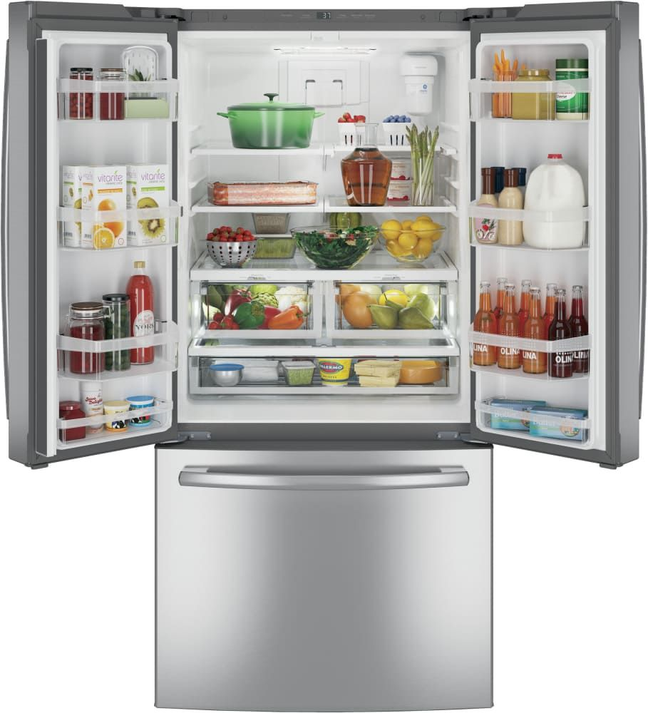 refrigerator with internal water dispenser. GE GNE25JSKSS 33 Inch French Door Refrigerator With Internal Water Dispenser, Icemaker, Quick Space Dispenser .