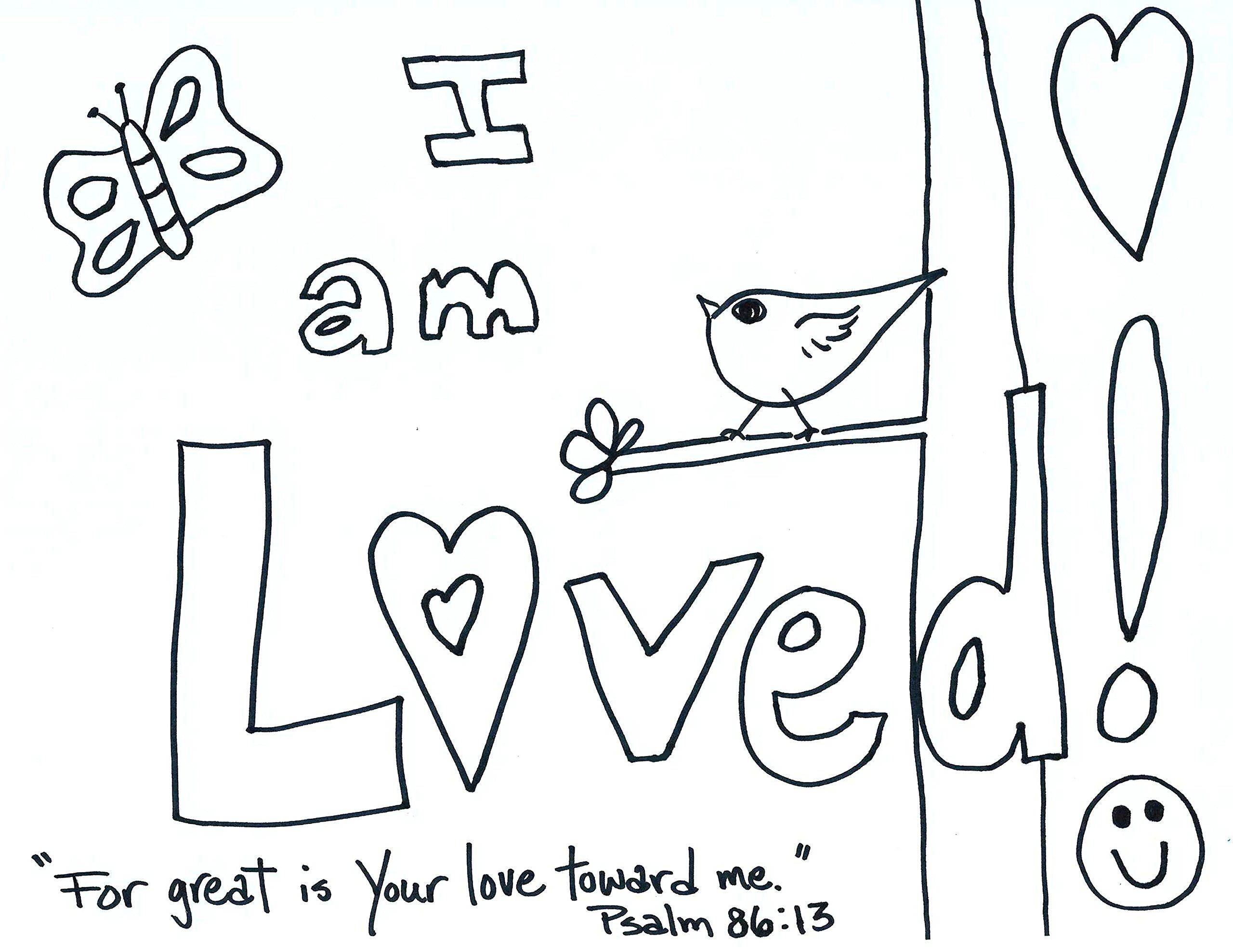 I am loved! coloring page download, adult or child coloring page I AM Thankful Coloring Pages Printable David Coloring Page I AM Strong Coloring Page