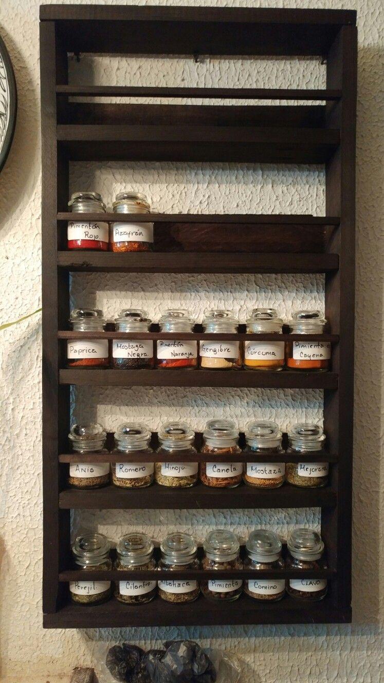 Especiero de madera reciclada spice rack ideas cocin for Muebles de madera reciclada para cocina