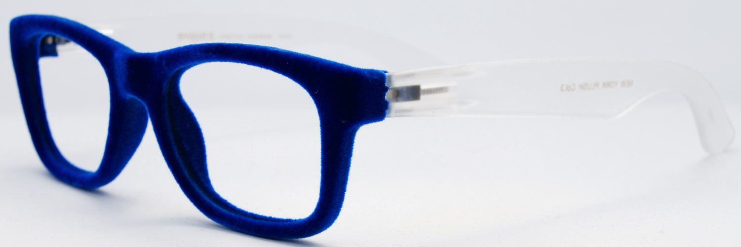 ea4b4326fb NEW YORK PLUSH 3 — eyejets blue velvet designer prescription glasses and reading  glasses