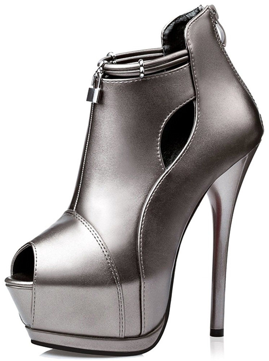 Summerwhisper Women's Sexy Peep Toe Back Zipper Pumps Stiletto Extreme High Heel Platform Ankle Boots ** Continue to the product at the image link.