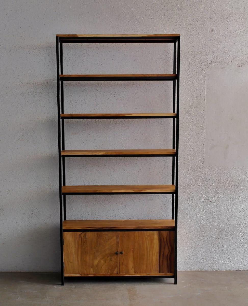 Estanteria madera y hierro google search llibreria - Estanterias modulares de madera ...