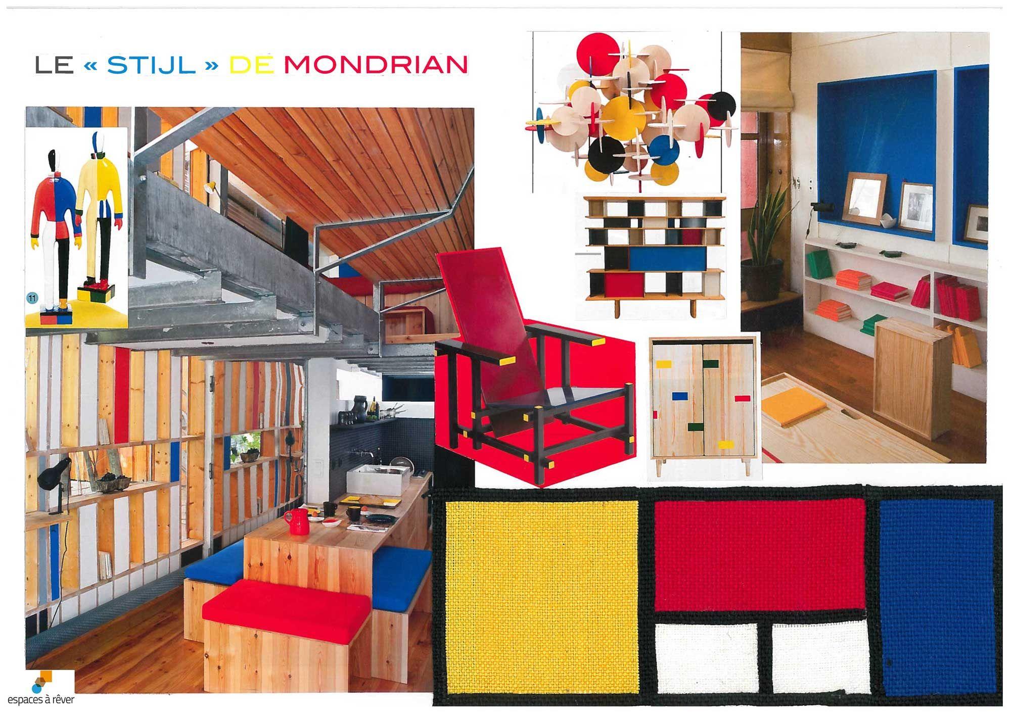 espaces r ver planche ambiance style hommage mondrian planches de style pinterest. Black Bedroom Furniture Sets. Home Design Ideas