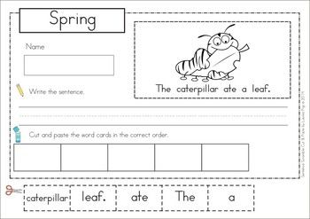 spring sentence scramble with cut and paste worksheets pocket charts activities and word work. Black Bedroom Furniture Sets. Home Design Ideas