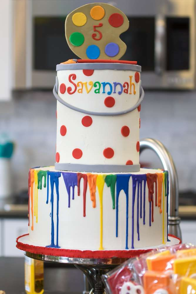 Rainbow Paint Party Birthday Party Ideas Painting Birthday Party