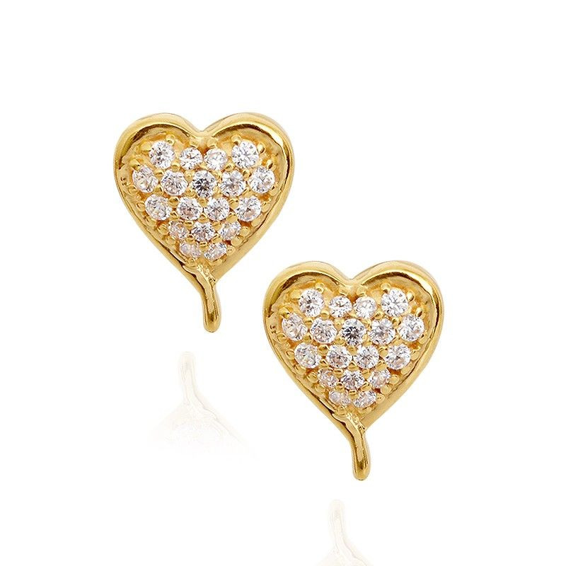 Stone Studded Little Princess Heart Gold Earrings