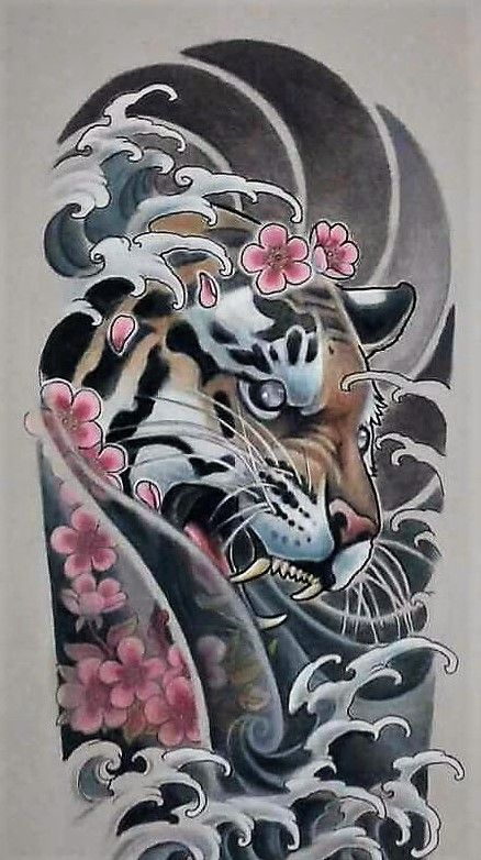 Tiger Cherry Blossom Waves Tiger Tattoo Sleeve Sleeve Tattoos Japanese Tattoo Designs