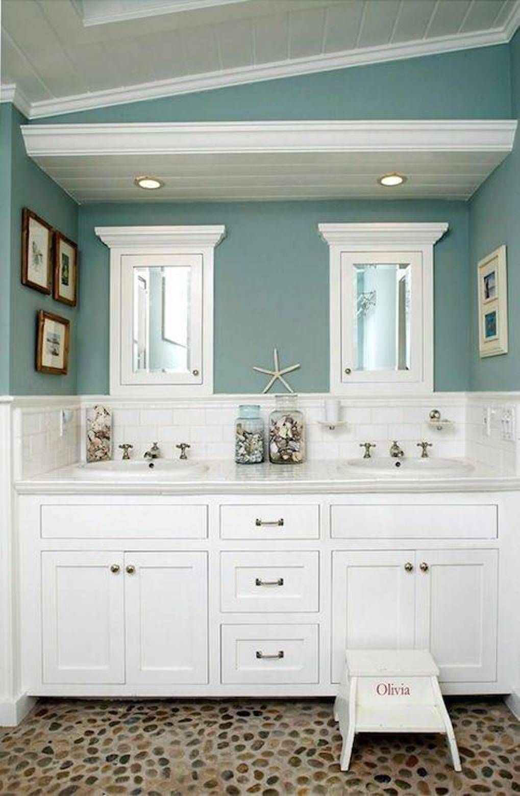 Bathroom Timeless White Vanity With Double Sinks And Faucets Recessed Medicine Cabinets