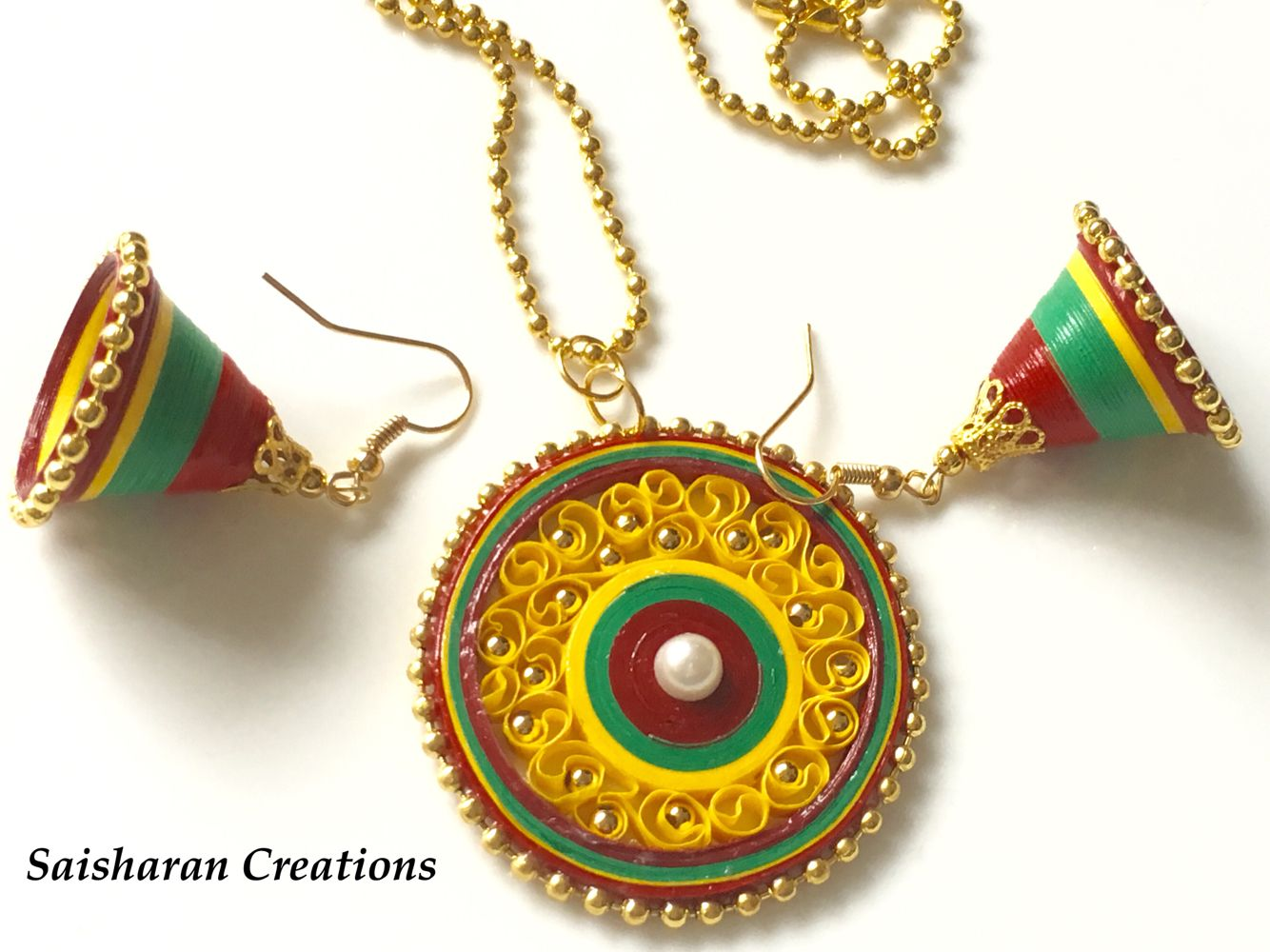 Paper Quilling necklace set/jhumkas   quilling and miniatures ...