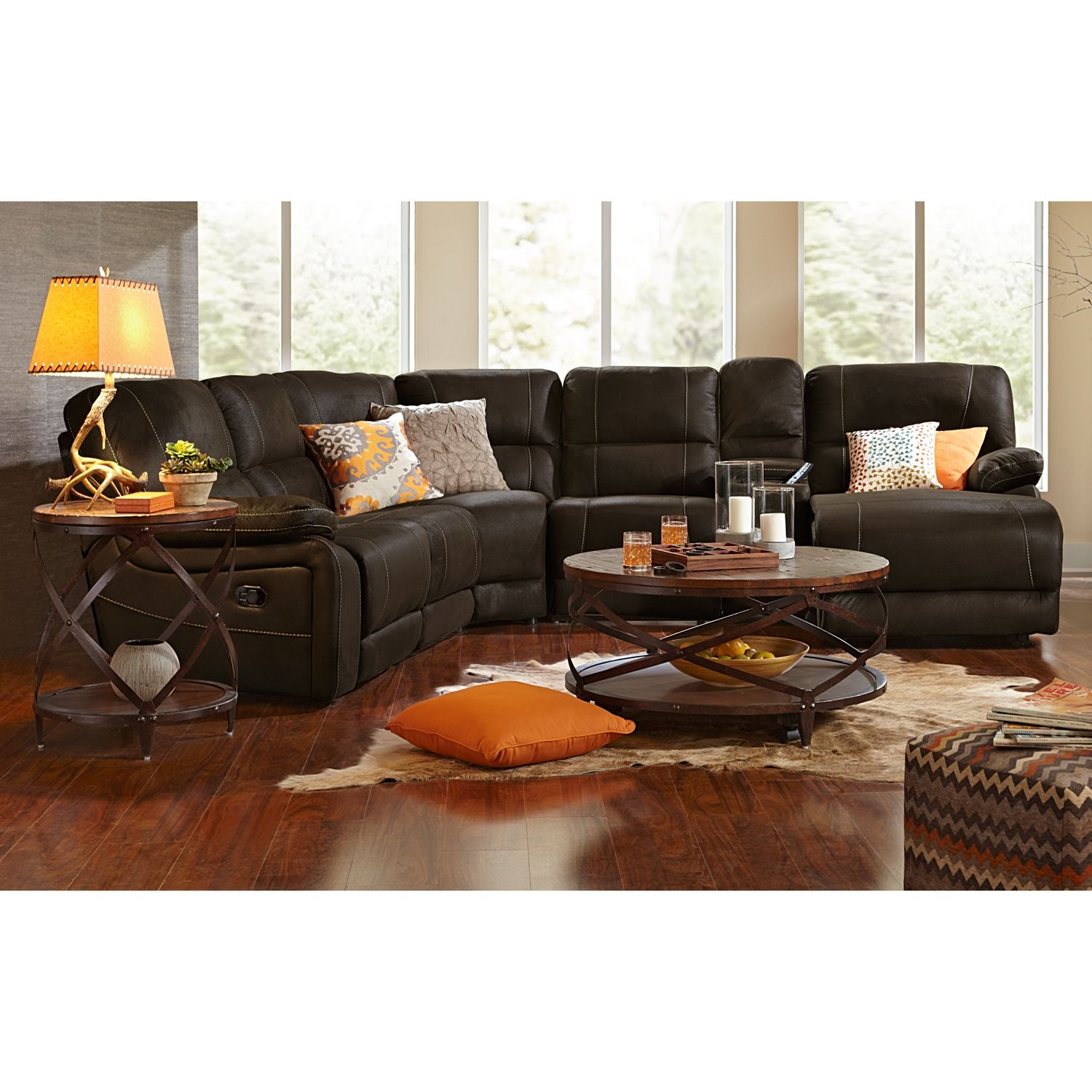 Living Room Furniture  Wyoming Saddle 5 Pcreclining Sectional Fair Cheap Living Room Sets Under 300 2018