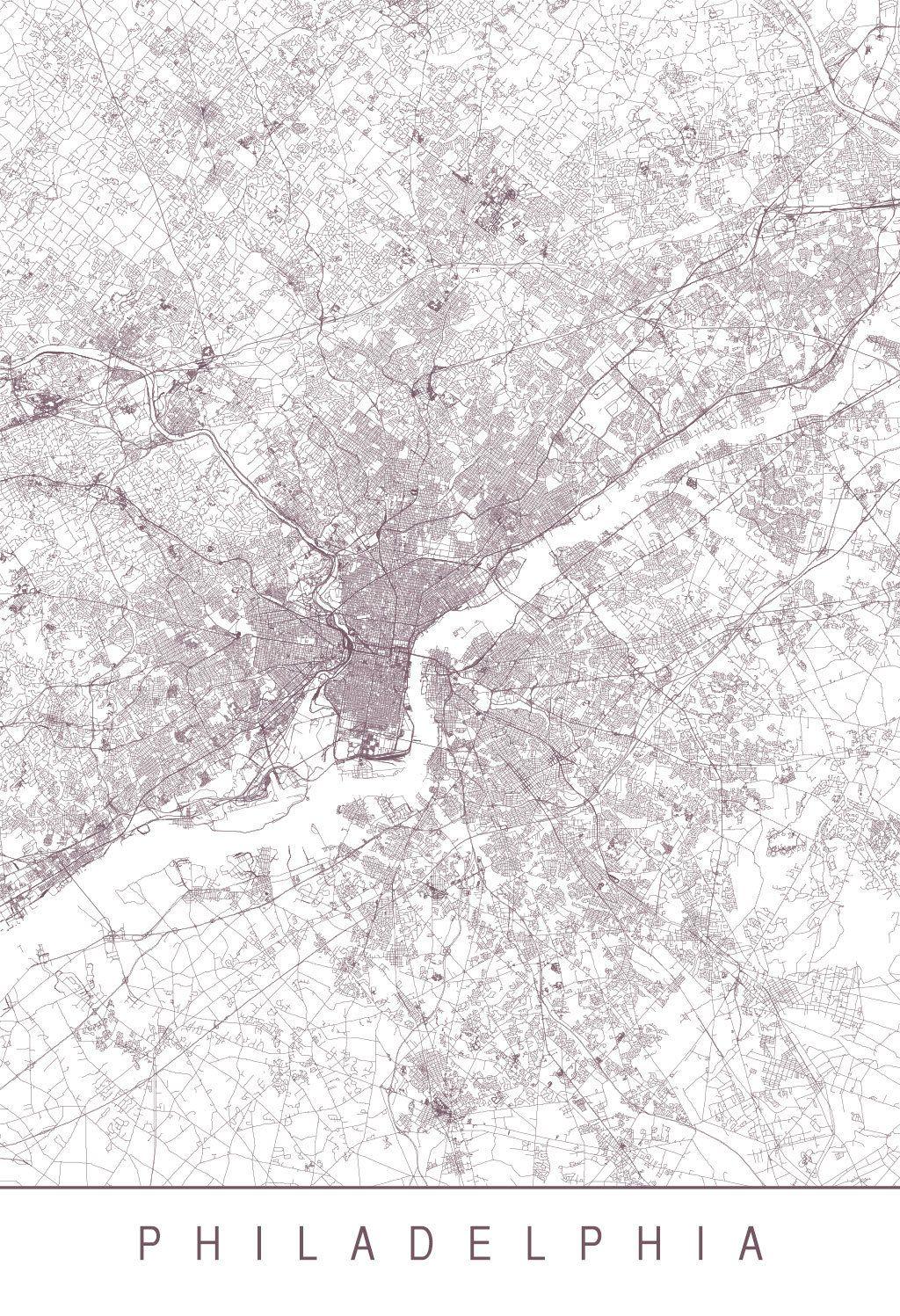 Karte Map Philadelphia Pennsylvania Vereinigte Staaten Von