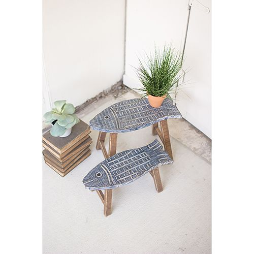 Kalalou Set of Two Wooden Fish Stools #strandhuis