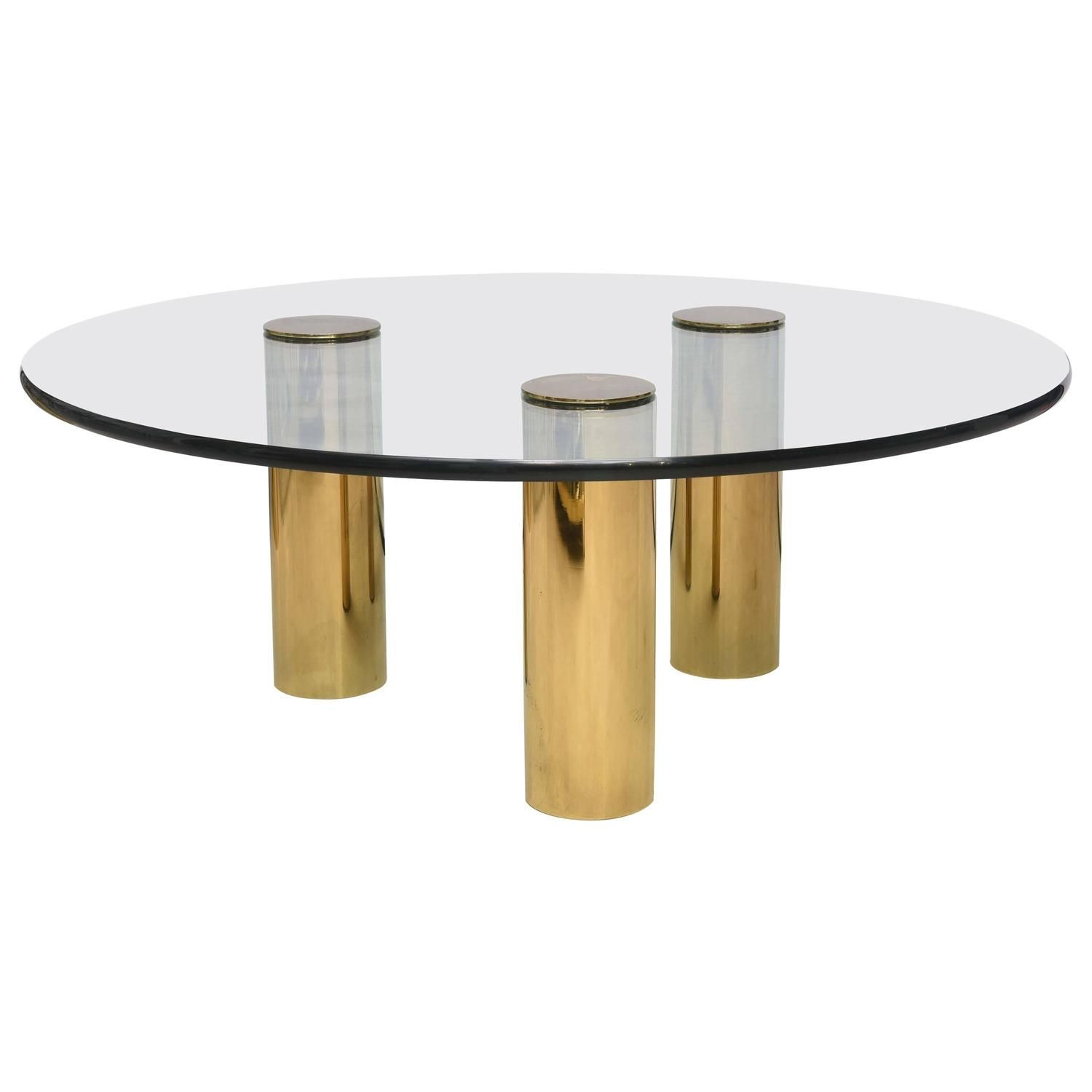 Brass and glass cocktail table attributed to pace table