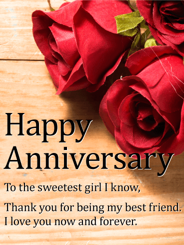 To The Sweetest Girl Happy Anniversary Card Birthday Greeting Cards By Davia Anniversary Wishes For Husband Happy Anniversary Cards Anniversary Wishes For Friends