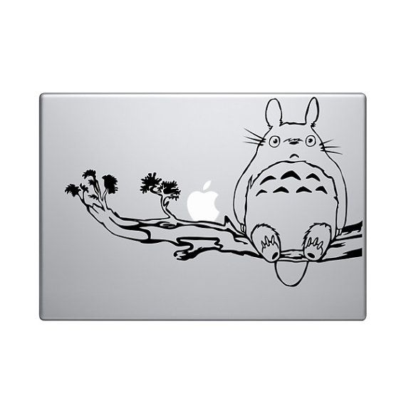 Totoro Sitting On A Branch With His Friend Vinyl Decal Sticker - Custom vinyl decals for macbook pro