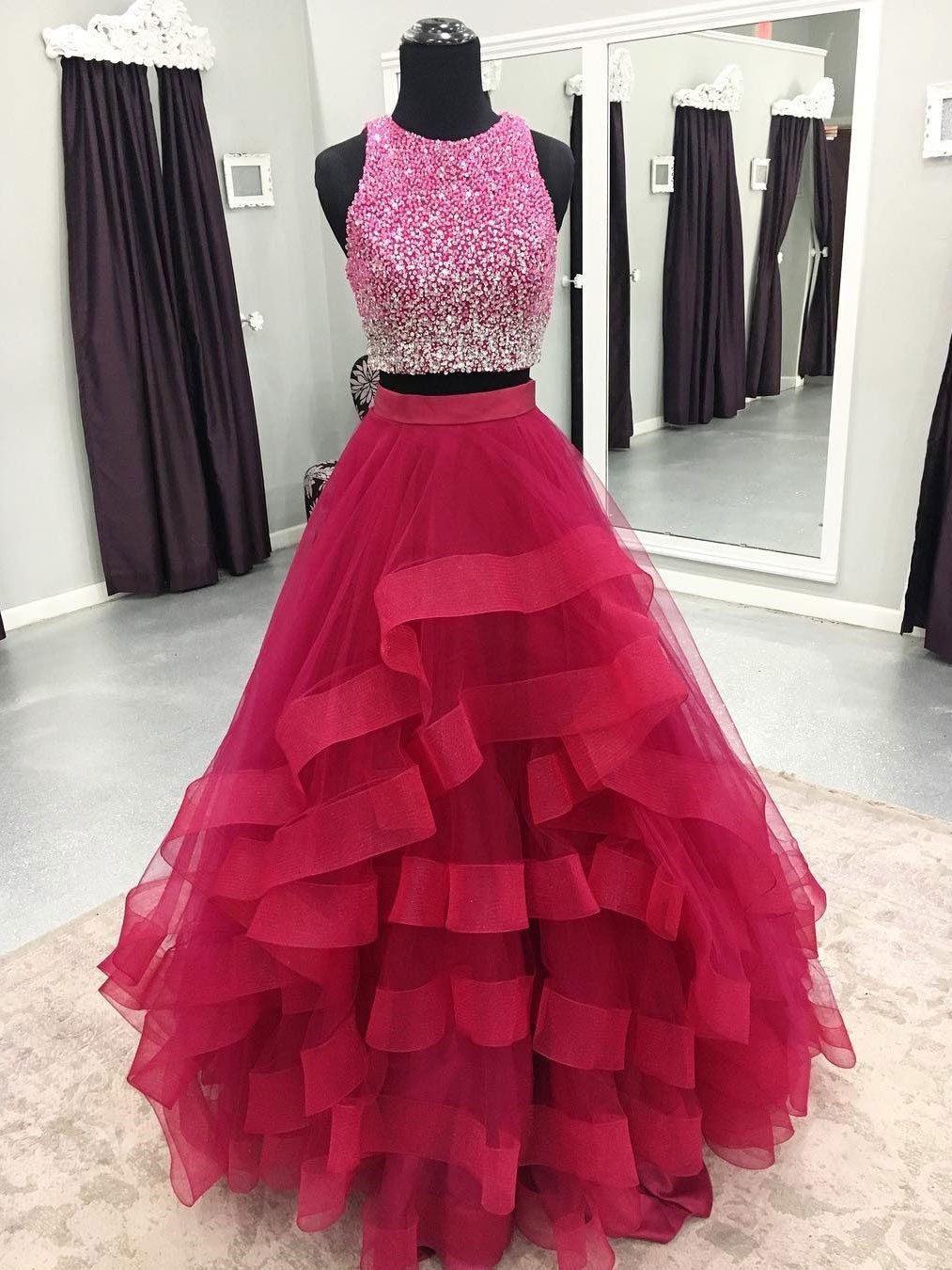Two piece organza prom dresses cheap sequins formal quinceanera