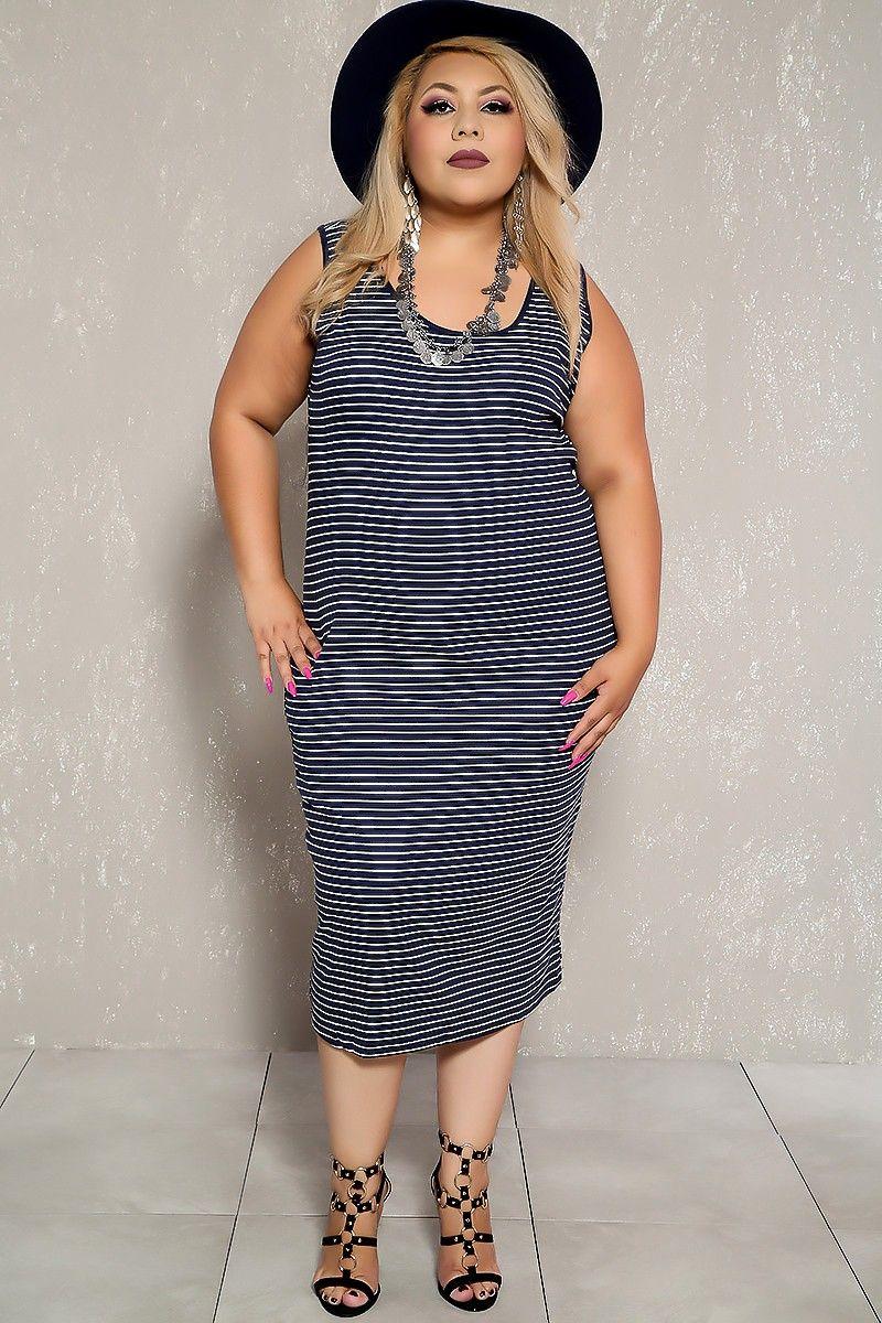 a7e31c8ab24 Sexy Navy White Striped Sleeveless Plus Size Casual Bodycon Dress