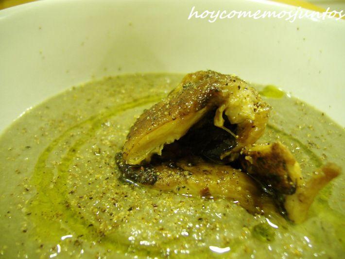 Crema de champiñones y coliflor