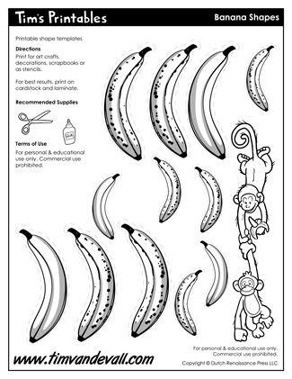 banana template printable sticker sheets in black white